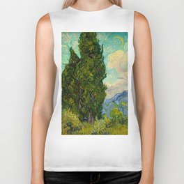 Cypresses Oil Painting Landscape Vincent van Gogh Biker Tank