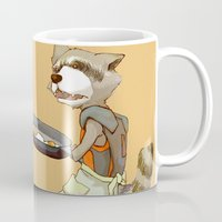 rocket raccoon Mugs featuring Rocket Raccoon by Negative Dragon