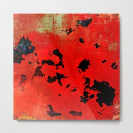 Red Modern Contemporary Abstract Textured Design Metal Print