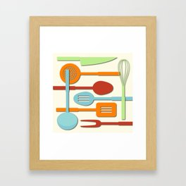Kitchen Colored Utensil Silhouettes on Cream III Framed Art Print