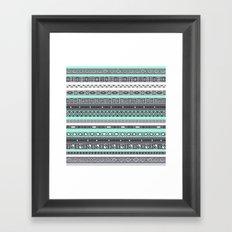 Pastel Mint / Pale Turquoise Tiffany Aztec Tribal Pattern Framed Art Print
