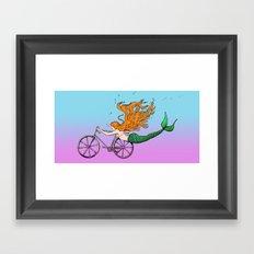 Mermaid on a Bike Framed Art Print