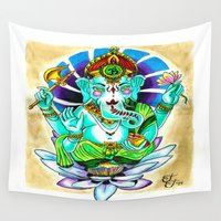 ganesh Wall Tapestries featuring Ganesh by Lady Noire