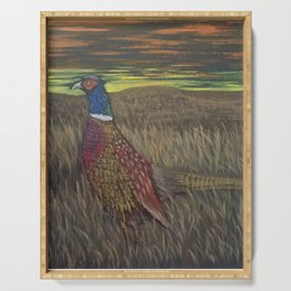 Rooster Pheasant at Sundown Serving Tray
