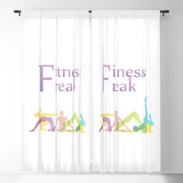 Fitness freak with people doing yoga Blackout Curtain
