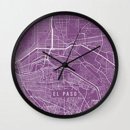 El Paso Map, USA - Purple Wall Clock