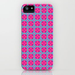 Pink Floral over Blue  iPhone Case