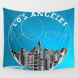 Los Angeles in a glass bowl on blue background Wall Tapestry