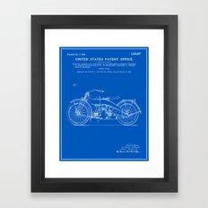 Motorcycle Patent - Blueprint Framed Art Print