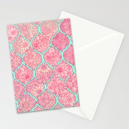 Moroccan Floral Lattice Arrangement in Pinks Stationery Cards