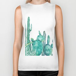 green cactus jungle watercolor Biker Tank