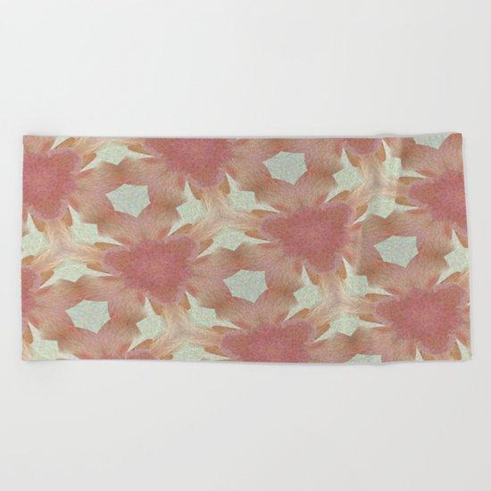 Geometric Floral Design - Pink Beach Towel