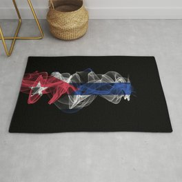 Cuba Smoke Flag on Black Background, Cuba flag Rug