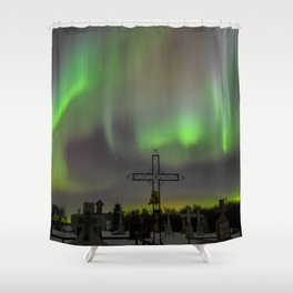 Ghostly Northern Lights Shower Curtain