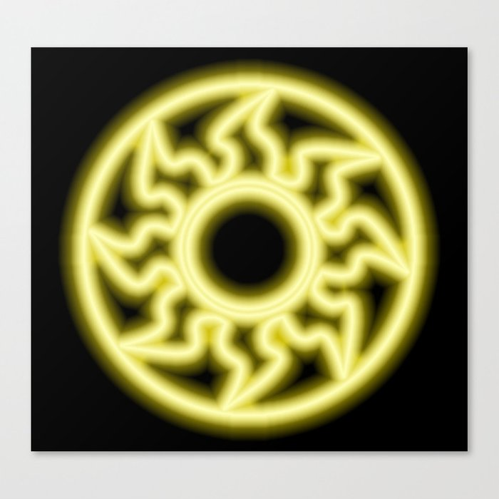 Magic The Gathering Neon White Mana Canvas Print By Thornblackstar
