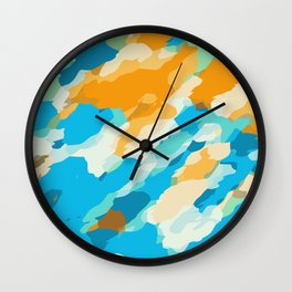 blue orange and brown dirty painting abstract background Wall Clock