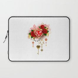 Ruby Heart with Roses Laptop Sleeve