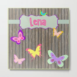 Personalized Home decor butterfly pattern in wooden blocks Kids Name Wall Decor Metal Print