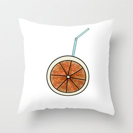 bright orange and cocktail straw Throw Pillow