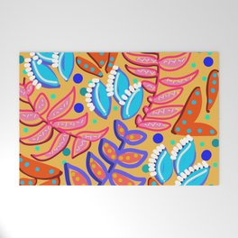 Whimsical Leaves Pattern Welcome Mat