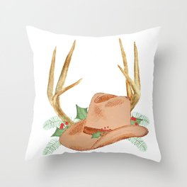 Cowboy Hat with Antlers Christmas Throw Pillow