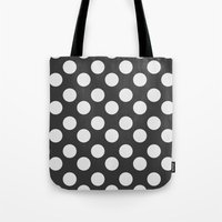 polka dots Tote Bags featuring Polka Dots by Nobu Design