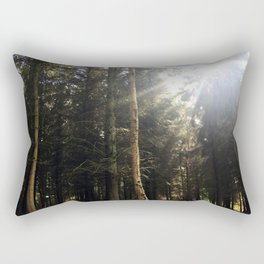 Sun Through Trees. Rushemere Country Park, Bedfordshire UK Rectangular Pillow
