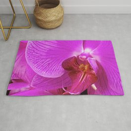 Pink Magenta Orchid Flower Macro Photo Rug