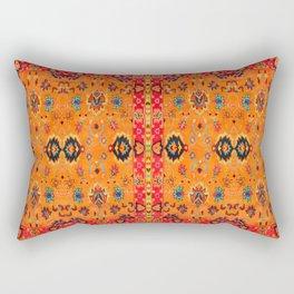 N123 - Orange Boho Oriental Moroccan Fabric Style Artwork Rectangular Pillow