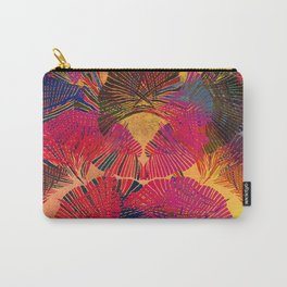 Rainbow background. Gingko biloba leaves. Hand painted Pattern. Carry-All Pouch