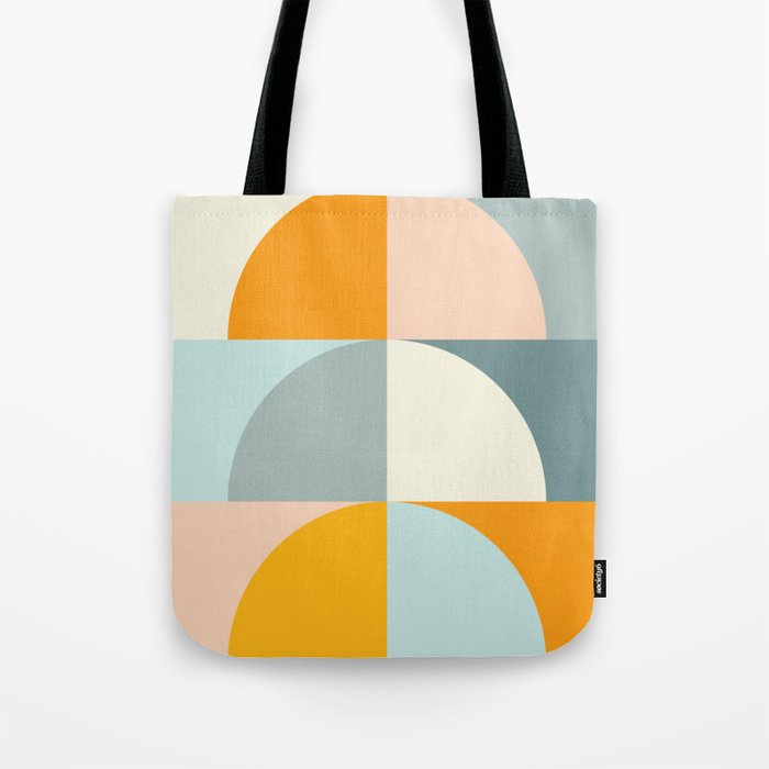 Summer Evening Geometric Shapes in Soft Blue and Orange Tote Bag