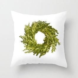 Box wood wreath round circle holiday celebrate Throw Pillow
