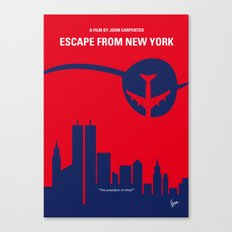 No219 My Escape from New York minimal movie poster Canvas Print