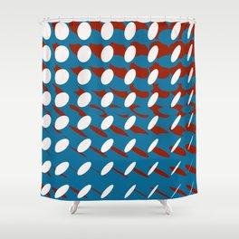elipse grid pattern_burgundy,blue Shower Curtain