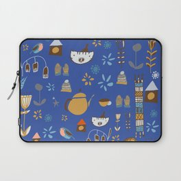 hygge cat and bird blue Laptop Sleeve