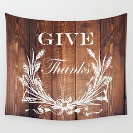 rustic western country barn wood farmhouse wheat wreath give thanks Wall Tapestry
