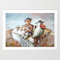 jewish Art Prints featuring Jewish Bird by Michael Zobak
