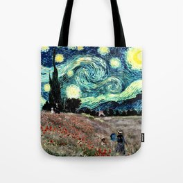 Monet's Poppies with Van Gogh's Starry Night Sky Tote Bag