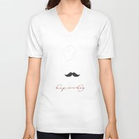 cooking V-neck T-shirts featuring keep cooking by Msimioni