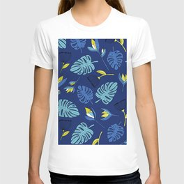 Tropical forest jungle monstera flowers pattern T-shirt