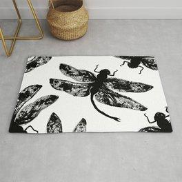 black ink dragonflies Rug