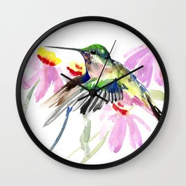 Hummingbird and Light Purple Flowers, birds and flowers Wall Clock