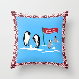 Greetings From Antartica Throw Pillow