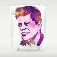jfk Shower Curtains featuring kennedy JFK by BIG Colours