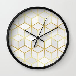 White squares with gold Wall Clock