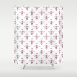 Pink Queen Bee Pattern Shower Curtain