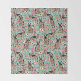 German Shepherd florals gifts for the dog lover dog breeds pet portrait dog art service dogs furbaby Throw Blanket