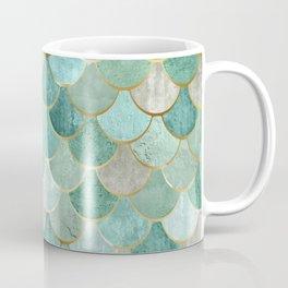 Moroccan Mermaid Fish Scale Pattern, Green and Gold Coffee Mug