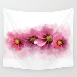 Watercolor painted Dahlias Wall Tapestry