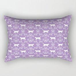 Cat florals floral silhouette pet portrait cat art cat lady purple and white Rectangular Pillow